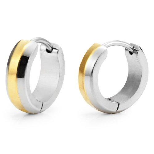 Stunning Stainless Steel Men's Hoop Earrings (Shiny Silver Gold)