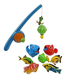 Rod and reel fishing bath toy set for kids for Toddler fishing pole toy
