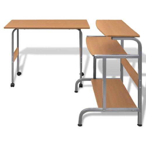 Tavolo Scrivania per Computer Laptop e Desktop Postazione di Lavoro Regolabile Ripiano Estraibile Tavolo da Ufficio/Tavolo per Studente Finitura (Marrone)