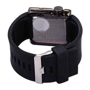 Tvg tanche led light blue silicon miroir montre led noir for Miroir noir review