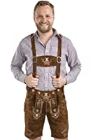 Schöneberger Men's Bavarian Lederhosen Brown - Oktoberfest Leather Trousers