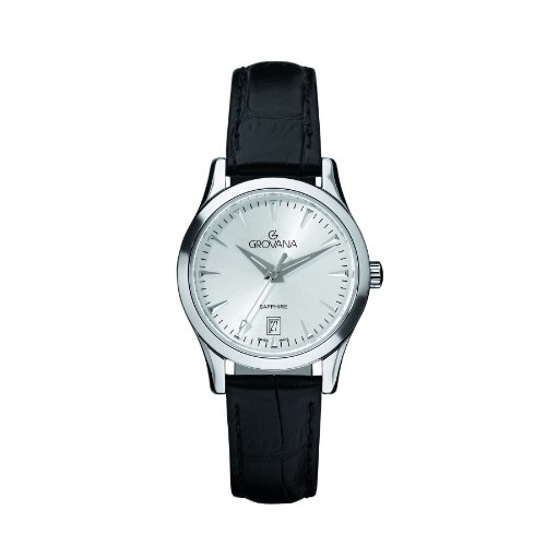 Grovana 3201,1532 - Reloj analógico de cuarzo para mujer, correa de cuero color negro (agujas luminiscentes)