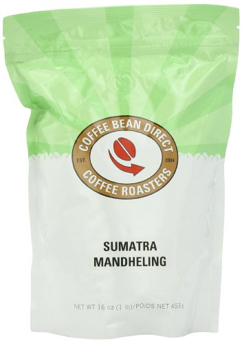 Coffee Bean Direct Sumatra Mandheling, Whole Bean Coffee, 16-Ounce Bags (Pack of 3)