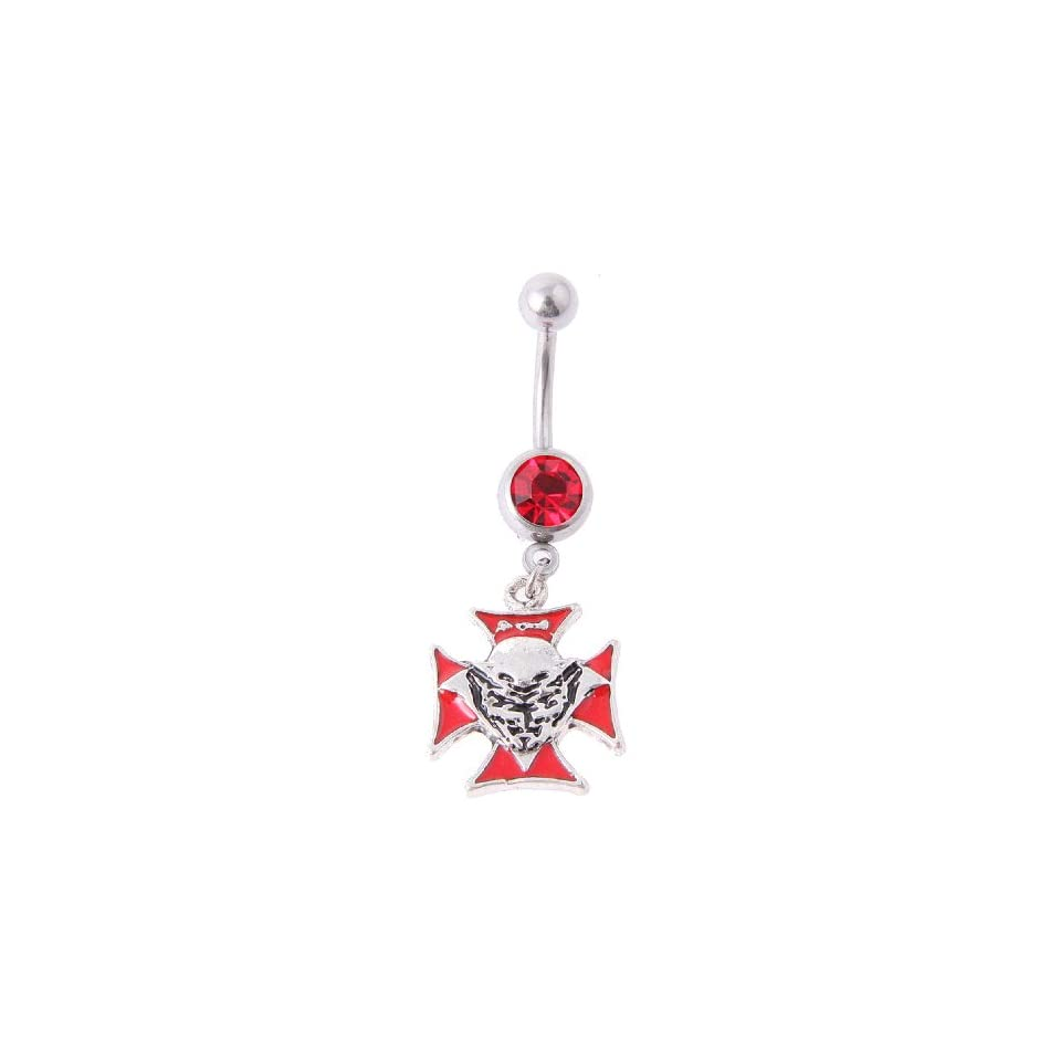 14g Surgical Steel Belly Ring with Cross and Devil in Red