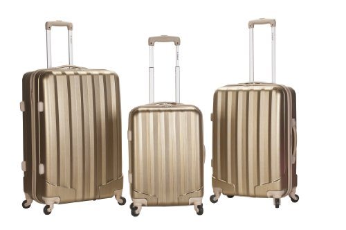 Rockland Luggage 3 Piece Metallic Upright Set, Bronze, Medium top deals