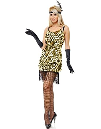 Starlet Sequin Flapper Dress BK/GD *Net Pricing (Large)