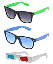 Hrinkar Wayfarer Grey Lens Black Frame, Wayfarer Grey Lens Black Frame & Paper 3D Glass - HCMB455