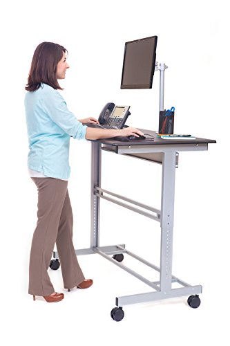 stand up desk mobile adjustable height computer portable laptop 48 in standing ebay. Black Bedroom Furniture Sets. Home Design Ideas