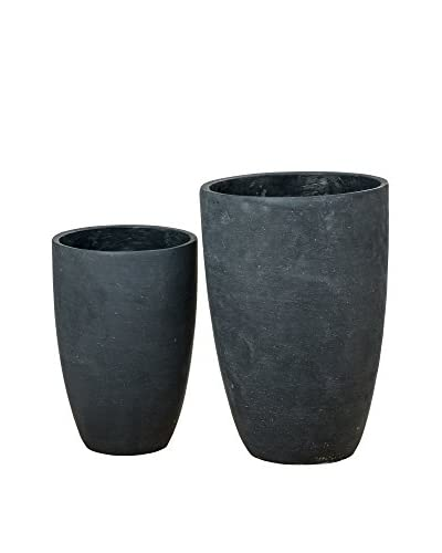 Boltze Blumentopf 2 tlg. Set Vase Sky S/2 H28-35Cm schwarz