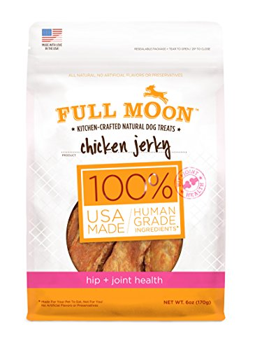 Full Moon All Natural Human Grade Dog Treats for Hip plus Joint Health, Chicken Jerky, 6 Ounce (Full Moon Chicken Jerky For Dogs compare prices)