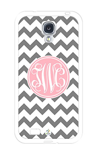 Izercase Monogram Personalized Grey And White Chevron Pattern With Cursive Initials Rubber Samsung Galaxy S4 Case - Fits Samsung Galaxy S4 T-Mobile, At&T, Sprint, Verizon And International (White)