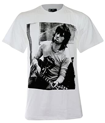 Keith Richard The Rolling Stones Play Guitar T-Shirt (MA003) (XL, White)