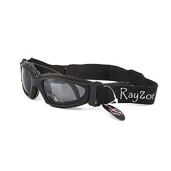 Ray-Zor Masque et Lunettes de Soleil - Multisports - Vtt - Moto - Voile - Conduite - Motard / Mod. Extrem Noir / Taille Unique Adulte / Pochette Microfibre Incluse / Protection 100% UV400