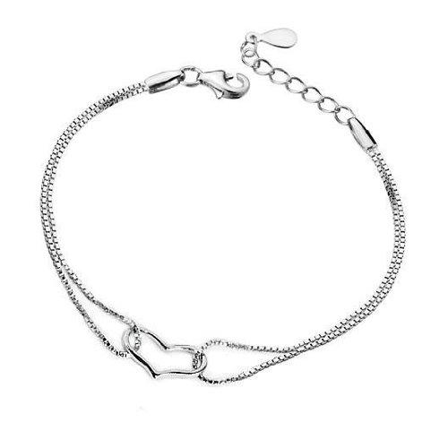 ComosCow JD5020 Kreative 925 Sterling Silber plattiert Doppelkette Herz verlinkten Armband