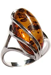 Honey Amber Collection and Sterling Silver Designer Ring, Sizes 5,6,7,8,9,10,11,12