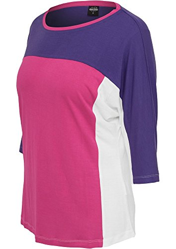 Urban Classics Ladies 3-tone 3/4 Sleeve Tee, Color:pur/fuc/wht;Größe:M