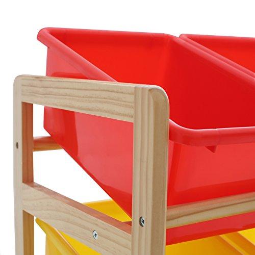 Premier Housewares 2400270 Meuble de Rangement à 3 Etages Structure Pin + 9 Bacs de Rangement Plastique