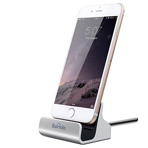 iPhone dock con cavo lightning , supporto da scrivania Spinido Dock di Ricarica e Sincronizzazione per iPhone 6s/ 6 plus /SE /5s (versione aggiornata),(Argento)