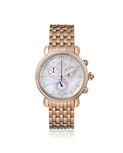 GV2 by Gevril Women's 9800 Marsala Diamond & Rose Gold-Plated Stainless Steel Watch with One Black Leather Strap