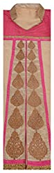 My Choice Boutique Women's Cotton Sem-stitched Kurti (Pink and Beige)