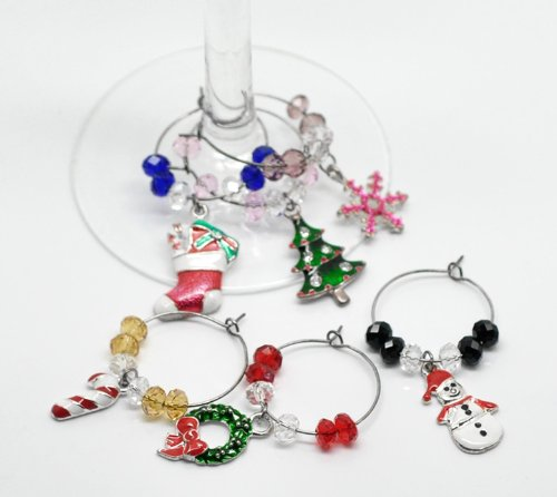 Christmas Mixed Wine Glass Dangle Charms (Set of 6)