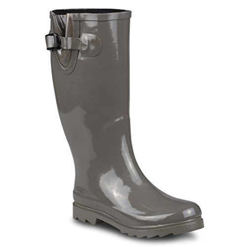 Twisted Women's DRIZZY Tall Cute Rubber Jelly Rainboots- GREY, Size 8 (Rain Boots Cheap compare prices)