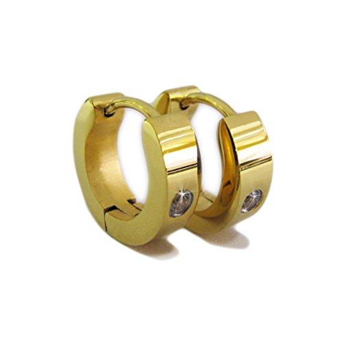 Tolle goldene Creolen mit Kristall Stein in Geschenkbox Edelstahl Ohrringe Kreolen Klappcreolen Stylebox24