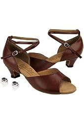 """Ladies Women Ballroom Dance Shoes Very Fine EKS9220 Signature with Heel Protectors 1.2"""" Heel"""
