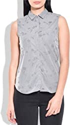 Addyvero Women's Embroidered Casual, Formal Grey Shirt