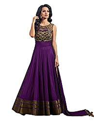 Best Amazone Dress Material Anarkali Type Women's Gown of Pure Georgette from spangel fashion (purple Color_Free Size)