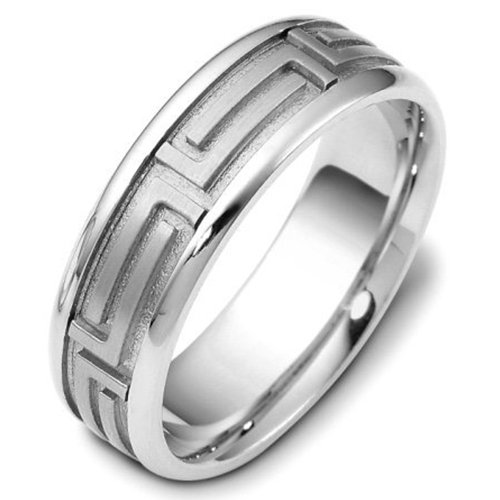 Sterling Silver, Greek Key 7MM Wedding Band (sz 8)