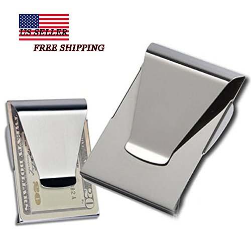 Slim Money Clip Double Sided Cash Credit Card Holder Wallet Stainless Steel WP (Tiger Head Bottle Opener compare prices)
