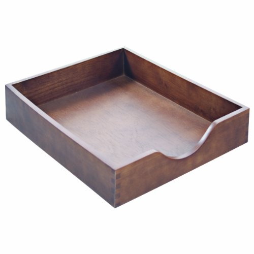 Carver Wood Products Hardwood Stackable Desk Tray, Legal Sized, 16.25 x 11 x 2.75 Inches, Walnut Finish (CW07222)