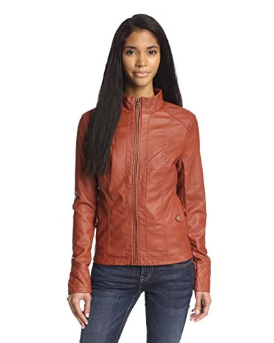 Moka Women's Faux Leather Jacket with Quilting