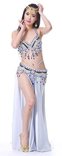AvaCostume Belly Dance Arabic 34C Bra Waist Scarf Sides Split Maxi Skirt Set of 3 Silver