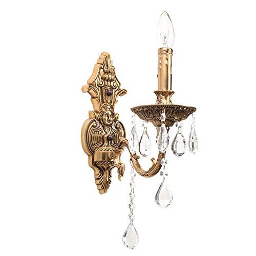 Applique en cristal, style classique, antique, armature en métal couleur laiton, plafonnier en forme de bougies, décoré avec pendeloques en cristal 1 ampoule non-incl. E14 1x60W 230V