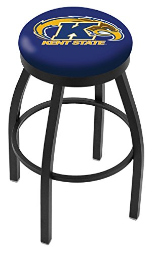 """Kent State Golden Flashes HBS Black Swivel Bar Stool with Blue Cushion (25"""")"""