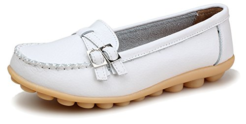 Kunsto Women's Leather Loafer Shoes Slip On US Size 7 White