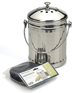 RSVP Stainless Steel Compost Pail with Extra Filter