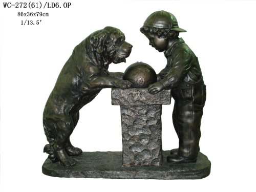 Garden Patio Indoor Outdoor Boy and Dog Statue Sculpture Water Fountain with LED Light 32
