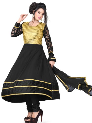 Adah Fashions Womens Georgette Anarkali Dress Material (324-904 -Black And Gold -Free Size)