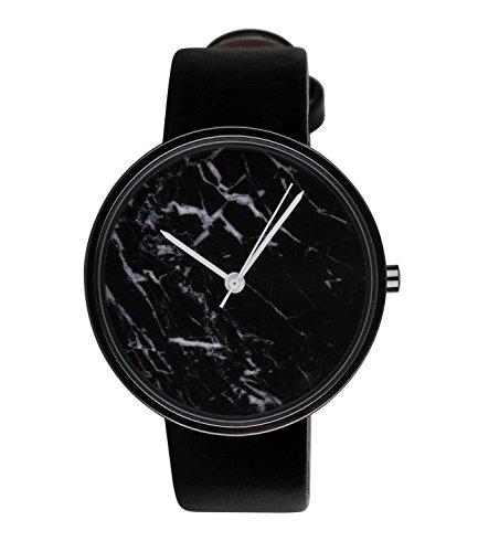 six-basic-damen-armbanduhr-watch-schwarz-marmor-design-leder-optik-weisse-zeiger-274-384