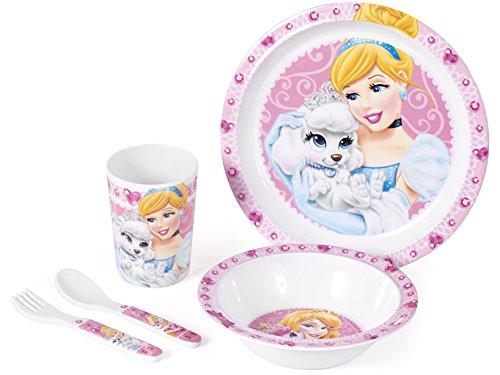 Home Disney Princess e Pet Confezione Pappa Bimbo in Melammina, 5 Pezzi, Rosa