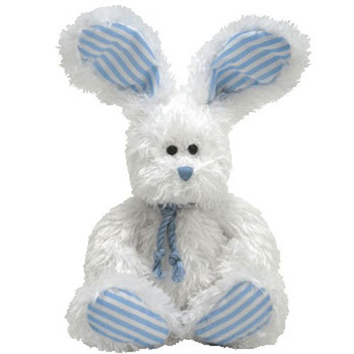 Ty Beanie Babies 2.0 Hopsy White Bunny With Blue Accents front-1057599