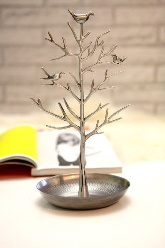 アンティーク風 小鳥がとまる 美しい ツリー型 アクセサリースタンド 30cm (アンティークシルバータイプ)