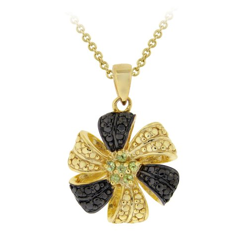 Yellow Gold Plated Silver Peridot Flower Pendant Necklace