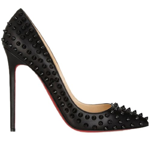 2014 Fashion Womens Pointed Toe Pumps Studded High Heel Designer Spike Sexy Shoes