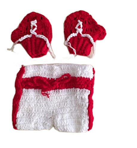 Pinbo Newborn Baby Photography Prop Boxing Costume Crochet Knitted Glove Shorts