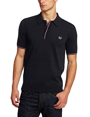 Fred Perry Men's Knitted Tipped Polo, Navy, Small