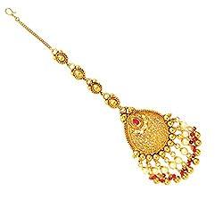 SatyamJewelleryNx Golden Kundan Maang Tikka For Women Fashion Jewellery (Wedding Season)